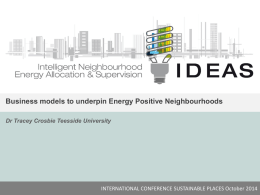 Business models to underpin the development of energy positive