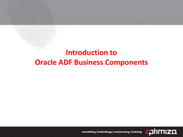 Introduction to Oracle ADF Business Components