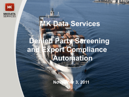 Denied Party Screening and Export Compliance Automation