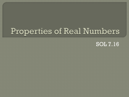 Notes: Properties of Real Numbers (ppt)