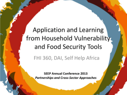 Application and Learning from Household Vulnerability and