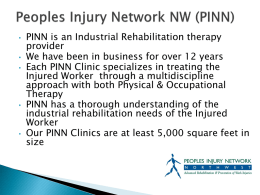 People`s Injury Network Presentation - Oregon Self