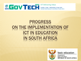 Progress on the implementation of ICT in Education in South Africa