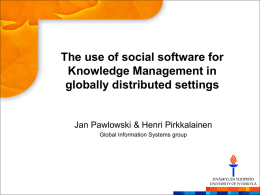 The use of social software for Knowledge Management in globally