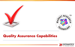 Quality Assurance Capabilities