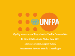 quality assurance - Reproductive Health Supplies Coalition