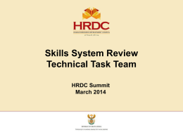 Presentation - Human Resource Development Council of South Africa