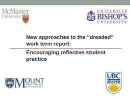 "New Approaches to the ""Dreaded"" Work Term Report"
