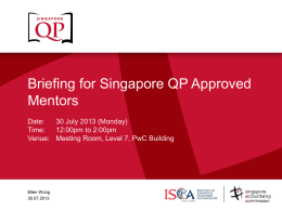 Briefing for Singapore QP Approved Mentors