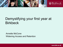 (from 2011): Demystifying the first year of your degree