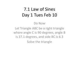 7.1 Law of Sines Day 1
