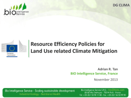 Resource Efficiency Policies for Land Use Related Climate