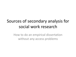 Sources of secondary analysis for social work research