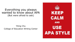 APA Tips - College of Education