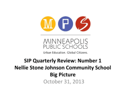 SIP Quarterly Review - Nellie Stone Johnson Community School