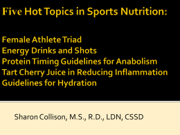 Five Hot Topics in Sports Nutrition: Female Athlete Triad Energy