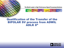 Qualification of the BIPOLAR SV process in ADLK