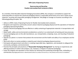 RIPA Code of Operating Practice Reprocessing and Recycling