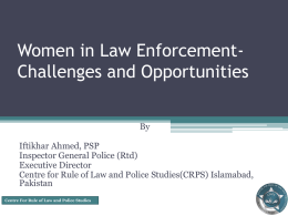 Women in Law Enforcemner-Pakistan