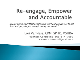 Employees, Re-engage, Empower and Accountability