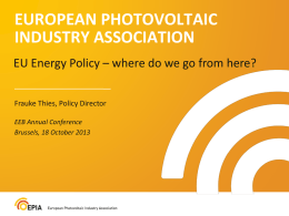 Frauke Thies, Policy Director, European Photovoltaic Industry