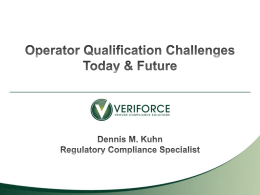 Operator Qualification (OQ) Rule - Western Regional Gas Conference