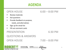 Open House #1 Presentation (September 2012)