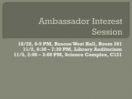 Ambassador Interest Session