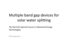 Multiple band gap devices for solar water splitting