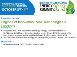 Engines of Innovation Panel - Southern California Energy Summit
