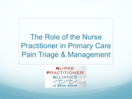 The Role of the Nurse Practitioner in Primary Care pain Triage