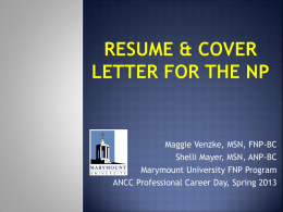 Resume & Cover Letter for the NP - American Nurses Credentialing