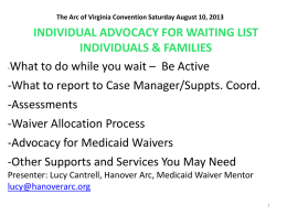 Individual Advocacy for Waiting List Families