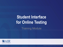 Student Interface for Online Testing