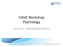 Teaching the Options - IB-Psychology