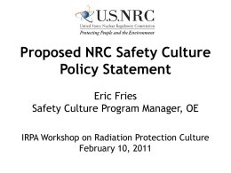 Eric Fries, Proposed NRC Safety Culture Policy Statement