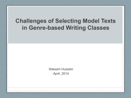 Challenges of Selecting Model Texts in Genre
