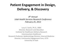Patient Engagement in Design, Delivery & Discovery