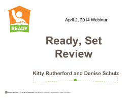 2014 Webinar Ready Set Review - NC Mathematics