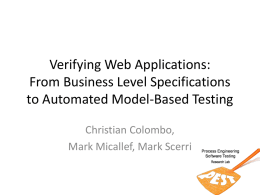 Verifying Web Applications: From Business Level Specifications to