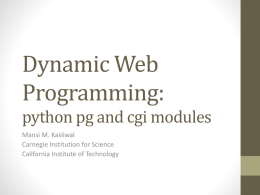 Dynamic Web Programming: pg & cgi modules