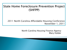 SHFPP Overview - the North Carolina Housing Coalition!