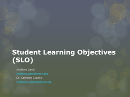 Student Learning Objectives (SLO)