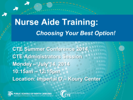 Avenues for Nurse Aide Training - CCP Revised July 8 FINAL (pptx