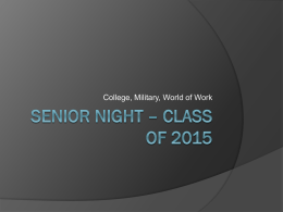 Senior Night - Class of 2015 Power Point Presentation