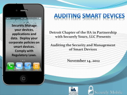 Auditing the management and security of smart devices