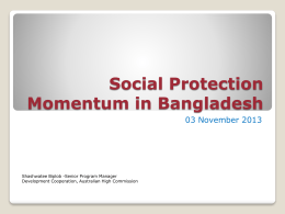 Social Protection In Bangladesh