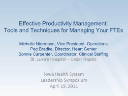 Productivity Management at St. Luke`s Hospital