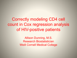 Correctly modeling CD4 cell count in Cox regression analysis