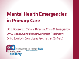 Presentation on Mental Health Emergencies in Primary Care